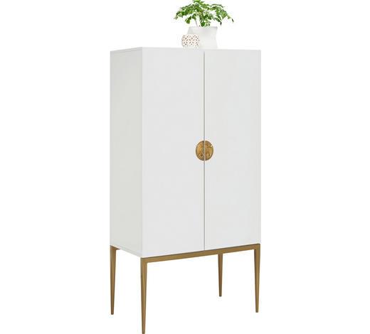 KOMODA, bílá, bronzová - bílá/bronzová, Design, kov/kompozitní dřevo (70/140/40cm) - Carryhome