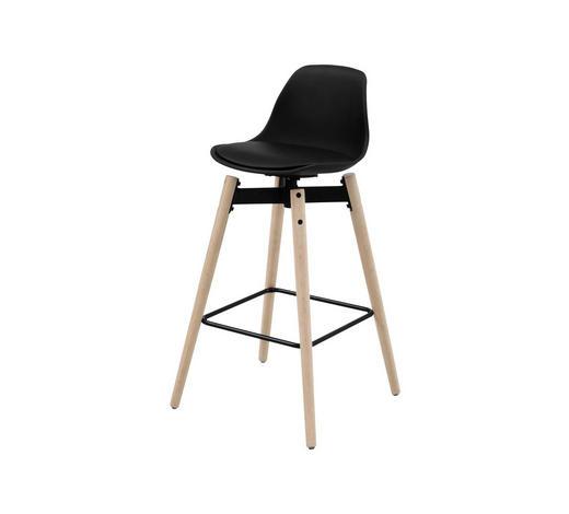 TRESENSTUHL Lederlook Schwarz, Eichefarben - Eichefarben/Schwarz, Design, Holz/Kunststoff (48,5/94/49cm) - Carryhome