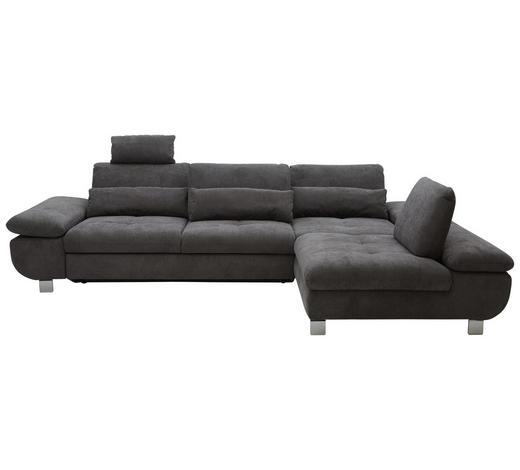 WOHNLANDSCHAFT in Textil Grau - Chromfarben/Grau, Design, Textil/Metall (310/203cm) - Venda