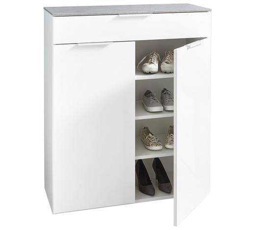SCHUHSCHRANK Hochglanz Grau, Weiß  - Weiß/Grau, Design, Holzwerkstoff (90/108/35cm) - Carryhome