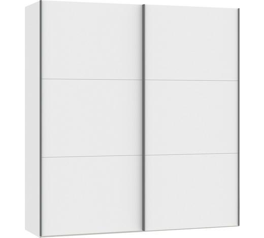 SCHWEBETÜRENSCHRANK in Weiß - Silberfarben/Weiß, Design, Glas/Holzwerkstoff (202,5/220/65cm) - Jutzler