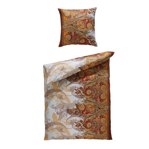 BETTWÄSCHE Makosatin Naturfarben, Terra cotta 135/200 cm - Terra cotta/Naturfarben, Design, Textil (135/200cm) - Estella