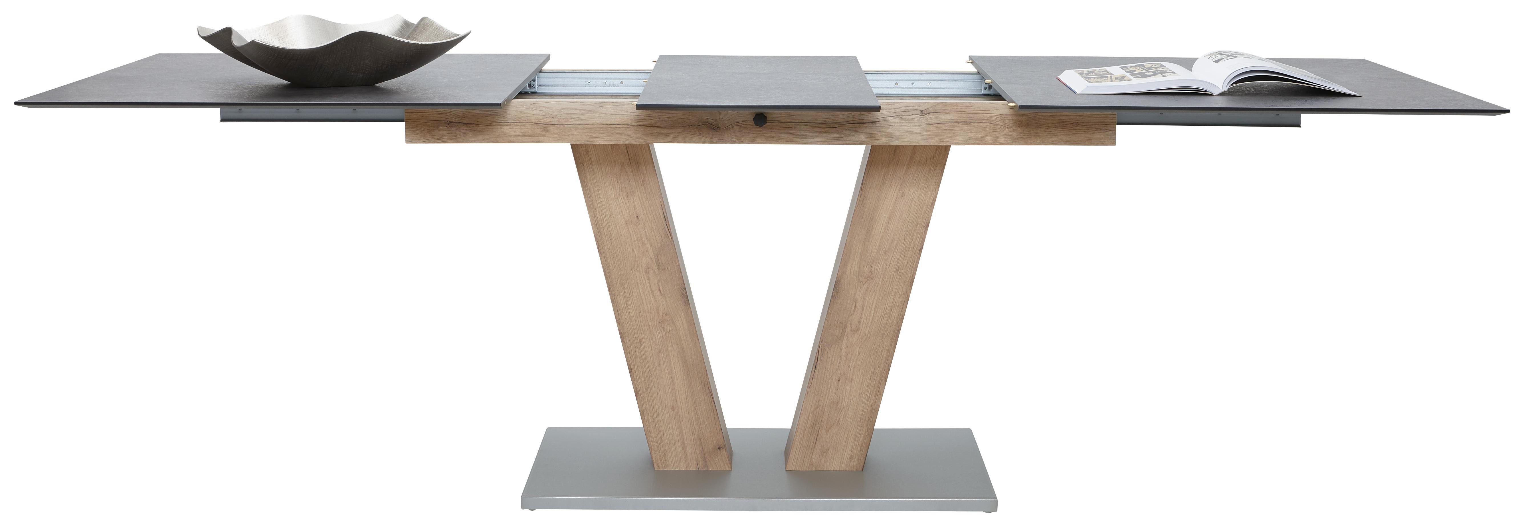 ESSTISCH rechteckig Eichefarben, Graphitfarben - Eichefarben/Graphitfarben, KONVENTIONELL, Holzwerkstoff/Kunststoff (160(200)/90/77cm) - VOLEO