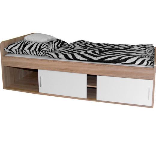 POSTEL, 90/200 cm, kompozitní dřevo, bílá, Sonoma dub - bílá/Sonoma dub, Konvenční, kompozitní dřevo (90/200cm)