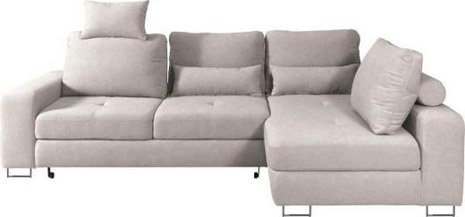 WOHNLANDSCHAFT in Textil Beige - Beige, Design, Textil/Metall (260/188/cm) - Hom`in