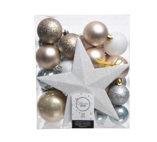 CHRISTBAUMKUGEL-SET 33-teilig Braun, Silberfarben, Weiß, Goldfarben  - Silberfarben/Goldfarben, Kunststoff - X-Mas