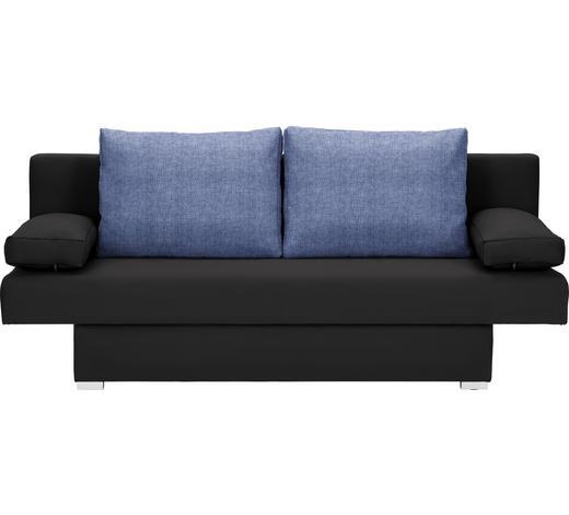 SCHLAFSOFA in Textil Blau, Schwarz  - Blau/Alufarben, Basics, Kunststoff/Textil (190/74-86/80cm) - Carryhome