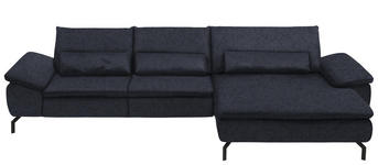 WOHNLANDSCHAFT in Textil Dunkelblau  - Schwarz/Dunkelblau, Design, Textil/Metall (341/181cm) - Dieter Knoll
