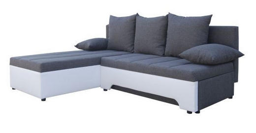 SEDEŽNA GARNITURA  bela, siva les, tekstil - siva/bela, Design, tekstil/les (200/160cm) - BOXXX