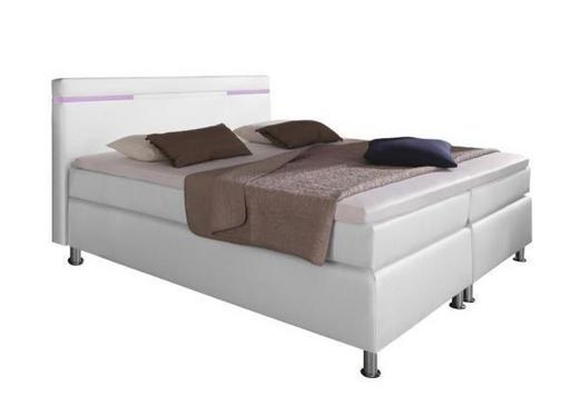 BOXSPRINGBETT Lederlook 180/200 cm  INKL. Beleuchtung, Matratze, Topper - Chromfarben/Weiß, Design, Textil/Metall (180/200cm) - Carryhome