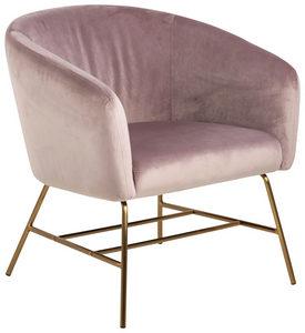 FÅTÖLJ - guldfärgad/gammelrosa, Modern, metall/textil (72/76/67cm) - Ambia Home