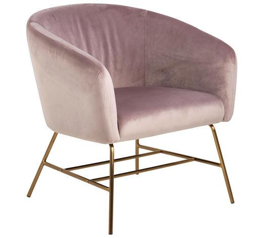 SESSEL in Metall, Textil Altrosa  - Goldfarben/Altrosa, MODERN, Textil/Metall (72/76/67cm) - Ambia Home