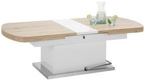 SOFFBORD - vit/rostfritt stål-färgad, Design, metall/träbaserade material (135-160/50-78/75cm) - Premium Living