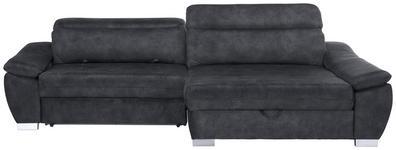 WOHNLANDSCHAFT in Textil Anthrazit  - Anthrazit/Silberfarben, MODERN, Kunststoff/Textil (270/175cm) - Carryhome