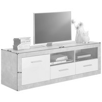 LOWBOARD in Grau, Weiß - Silberfarben/Alufarben, Design, Holzwerkstoff/Kunststoff (147/49/45cm) - Carryhome
