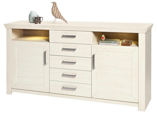 SIDEBOARD Melamin Weiß - Alufarben/Weiß, Design, Holzwerkstoff/Metall (184,1/94,6/44,2cm) - SetOne by Musterring
