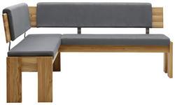 ECKBANK Lederlook Eiche massiv Eichefarben, Grau - Eichefarben/Grau, KONVENTIONELL, Holz/Textil (167/192cm) - Voleo