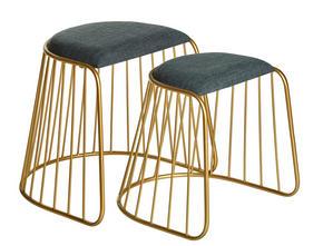LOUNGEPALL - grå/guldfärgad, Design, metall/textil (52/45/51,5/43/49/43,5cm)