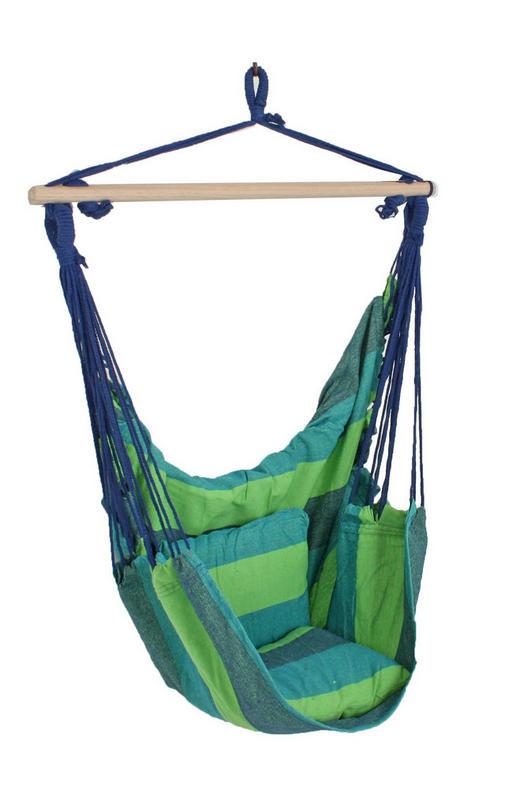 HÄNGESESSEL Blau, Grün - Blau/Grün, Basics, Holz/Textil (90/120/60cm)