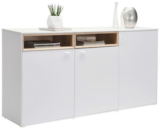 KOMMODE Eichefarben, Weiß - Eichefarben/Silberfarben, Design, Holzwerkstoff/Kunststoff (180,4/92,8/43cm) - Hom`in