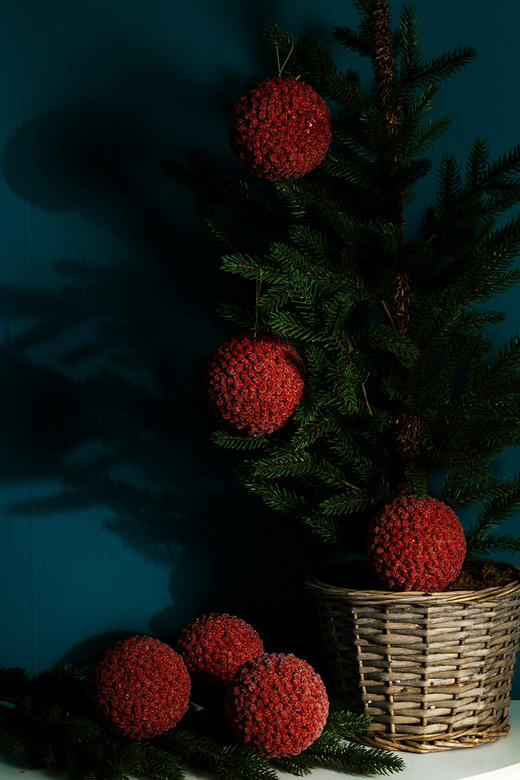 CHRISTBAUMKUGEL-SET  6-teilig Rot - Rot, Kunststoff (10cm)