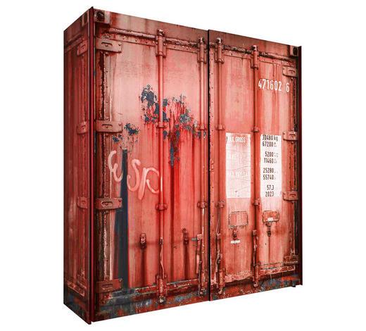 SCHIEBETÜRENSCHRANK in Rot, Schwarz - Anthrazit/Rot, Design, Holzwerkstoff/Metall (215/210/60cm) - Stylife