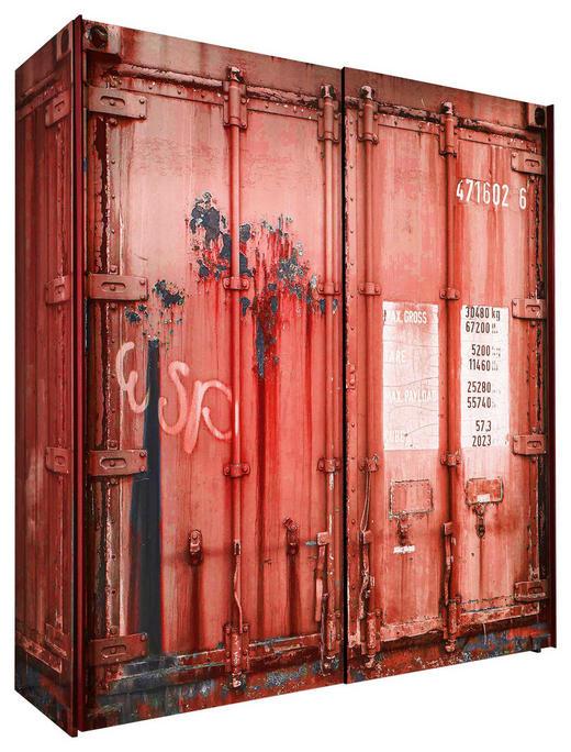 SCHWEBETÜRENSCHRANK in Rot, Schwarz - Anthrazit/Rot, Design, Holzwerkstoff/Metall (170 195,5 60cm) - Stylife