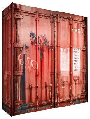SKJUTDÖRRSGARDEROB - röd/svart, Design, metall/träbaserade material (170/195,5/60cm) - Stylife