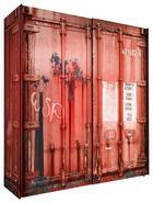 SKŘÍŇ S POSUVNÝMI DVEŘMI, černá, červená - černá/antracitová, Design, kov/dřevěný materiál (170/195,5/60cm) - Stylife