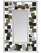 STENSKO OGLEDALO, 60/90/2,5 cm steklo, leseni material  - večbarvno/srebrna, Trend, steklo/leseni material (60/90/2,5cm) - Carryhome