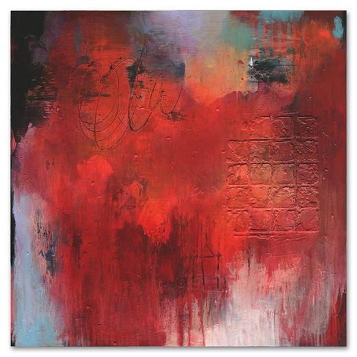 Abstraktes KEILRAHMENBILD - Rot, Textil (80/80cm) - WIEDEMANN
