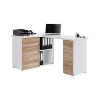 KOTNA PISALNA MIZA leseni material bela, hrast - bela/hrast, Design, leseni material (145/76,6/101,5cm) - VOLEO