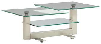 COUCHTISCH in 120-150/47/70 cm Nickelfarben - Nickelfarben, Design, Glas/Metall (120-150/47/70cm) - Novel
