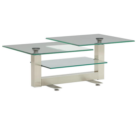 COUCHTISCH in Metall, Glas 120-150/70/47 cm   - Nickelfarben, Design, Glas/Metall (120-150/70/47cm) - Novel