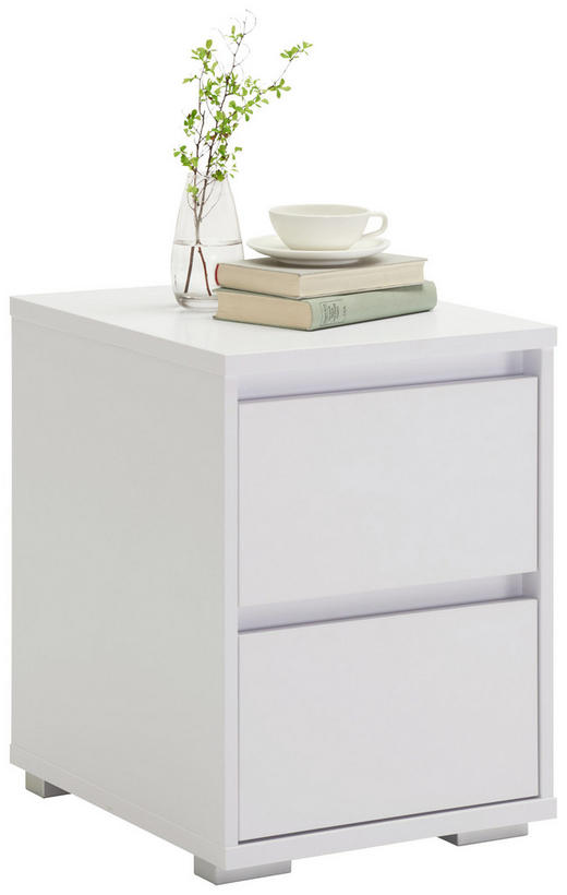 Kommode in Weiß - Alufarben/Weiß, Design, Holzwerkstoff/Kunststoff (40/55/48cm) - Carryhome