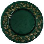 PLATZTELLER Glas  - Smaragdgrün/Goldfarben, Trend, Glas (32,5cm) - Novel
