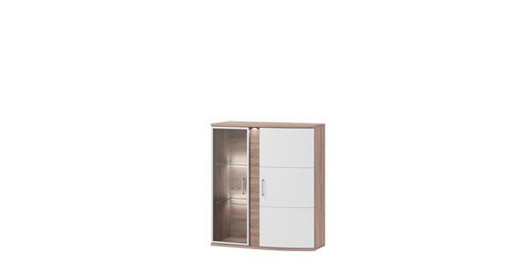 HÄNGEVITRINE in Weiß, Eichefarben   - Eichefarben/Alufarben, Design, Glas/Holzwerkstoff (95,3/110,6/40,4cm) - Xora