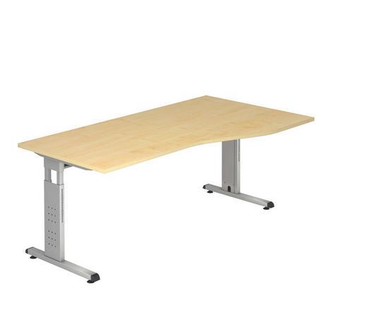 SCHREIBTISCH - Silberfarben/Ahornfarben, KONVENTIONELL, Holzwerkstoff/Metall (100/180cm)