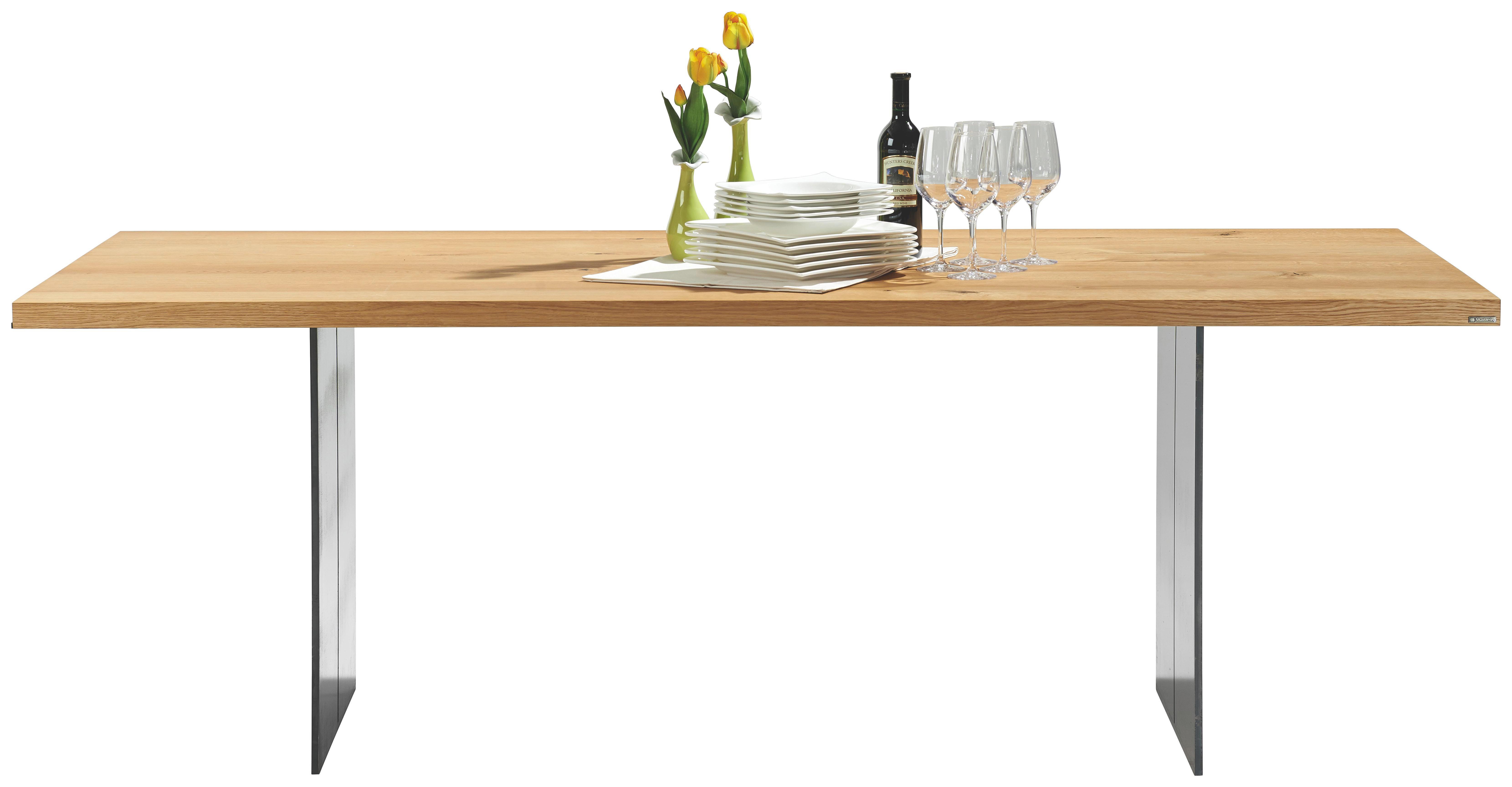 ESSTISCH Asteiche massiv rechteckig Eichefarben, Silberfarben - Eichefarben/Silberfarben, Design, Holz/Metall (220/77/100cm) - MUSTERRING