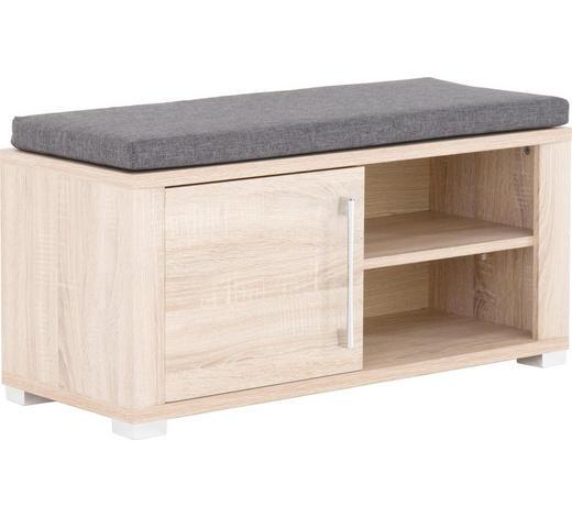 KLUPA ZA PREDSOBLJE - siva/boje srebra, Konvencionalno, drvni materijal (90/40/36cm) - Cantus