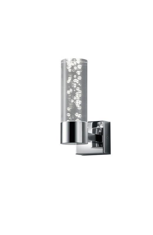 BADEZIMMER-WANDLEUCHTE - Chromfarben/Klar, Design, Kunststoff/Metall (19,0/7,0/12,0cm)