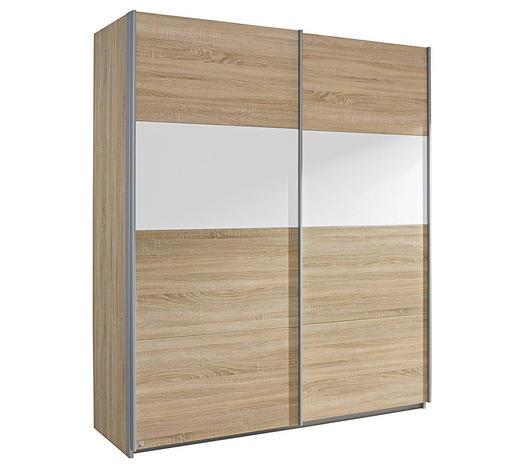 SCHWEBETÜRENSCHRANK 2-türig Weiß, Sonoma Eiche - Silberfarben/Weiß, Design, Holzwerkstoff/Metall (181/210/62cm) - Carryhome