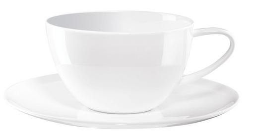 JUMBOTASSE MIT UNTERTASSE - Weiß, Basics, Keramik (0.35l) - ASA