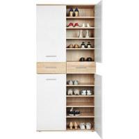 SCHUHSCHRANK - Eichefarben/Silberfarben, Design, Holzwerkstoff/Kunststoff (90/195/35cm) - XORA