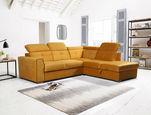 SEDEŽNA GARNITURA,  rumena les, tekstil, leseni material - aluminij/rumena, Design, umetna masa/tekstil (245/215cm) - Xora