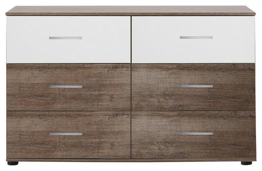 KOMMODE Eichefarben, Weiß - Eichefarben/Silberfarben, Design, Kunststoff (130/83/41cm) - Carryhome