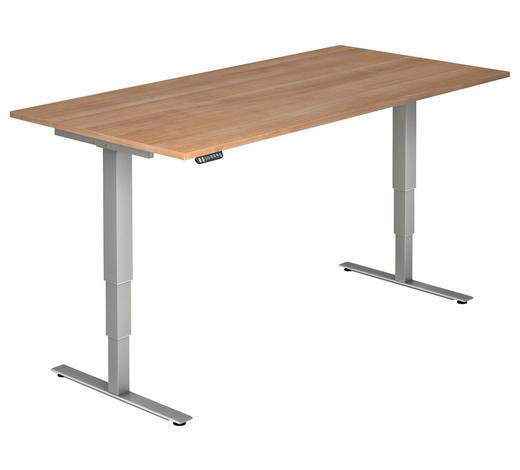 SCHREIBTISCH - Silberfarben/Nussbaumfarben, KONVENTIONELL, Holzwerkstoff/Metall (200/63,5-128,5/100cm)