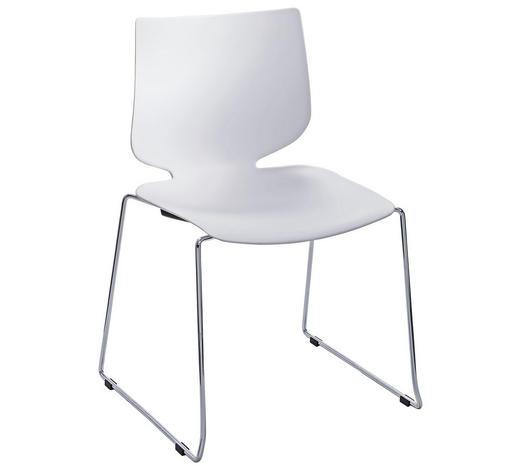 STUHL in Metall, Kunststoff Weiß, Chromfarben  - Chromfarben/Weiß, Design, Kunststoff/Metall (49/83/51cm) - Valdera