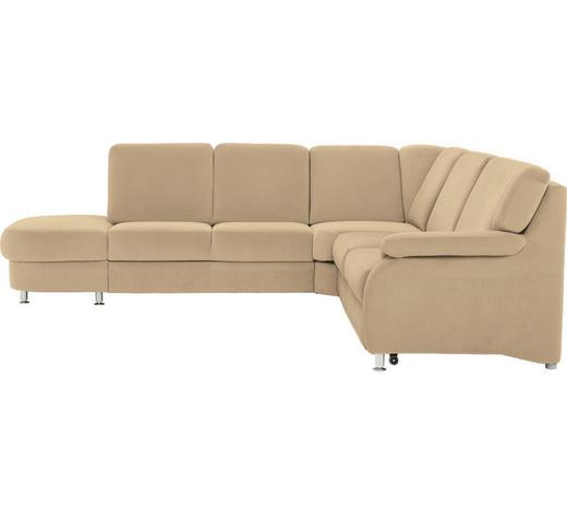 WOHNLANDSCHAFT Creme  - Creme/Alufarben, KONVENTIONELL, Textil/Metall (287/269cm) - Beldomo System