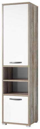 STOJEČ REGAL 49/201/46 cm bela, naravna - naravna/bela, Konvencionalno, umetna masa/leseni material (49/201/46cm) - Carryhome